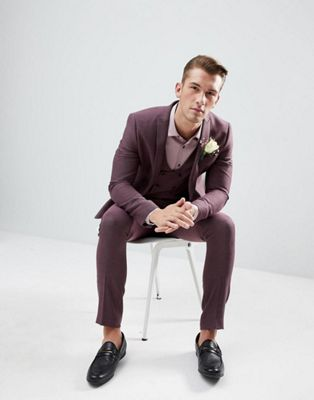 ASOS Wedding Skinny Suit In Damson Micro Texture