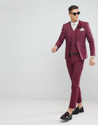ASOS Wedding Skinny Suit In Wine