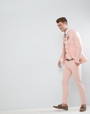 ASOS Wedding Super Skinny Fit Suit In Pale Peach