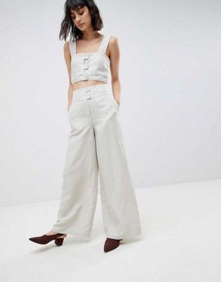ASOS WHITE Linen Crop Top & Trouser Co-Ord