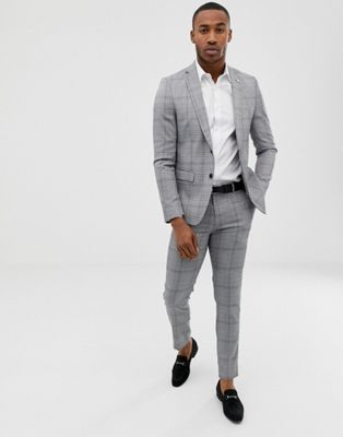 Avail London slim fit suit in gray prince of wales check