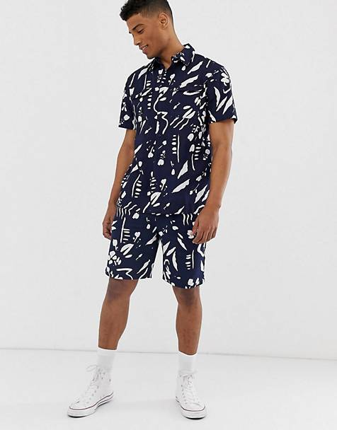Bellfield - Combi-set met verfstrepenprint in marineblauw