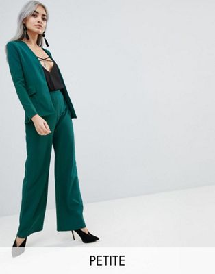 Boohoo Petite Collarless Blazer & Wide Leg Trouser Co-Ord