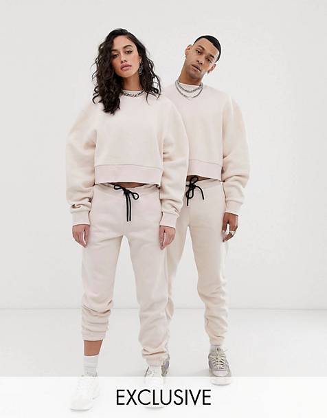 COLLUSION Unisex cropped sweat and jogger two-piece