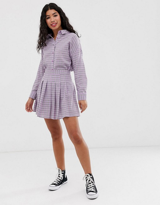 Daisy Street boyfriend shirt & skirt two-piece in gingham