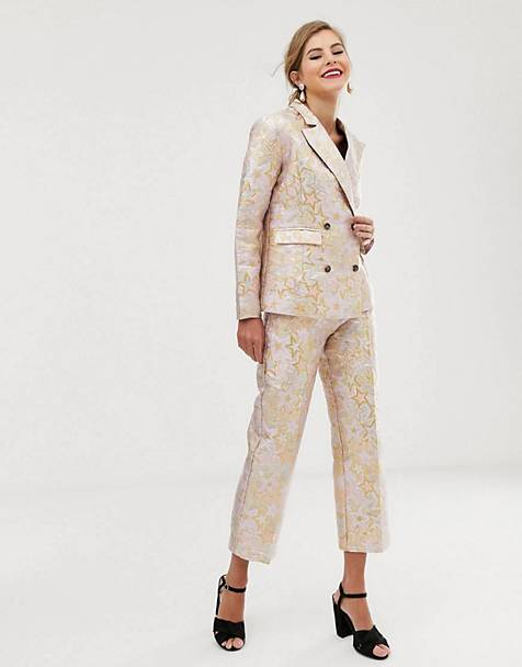 68ad20986d Dusty Daze jacquard blazer & straight leg pants co-ord