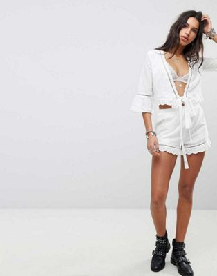 ebonie n ivory Wrap Front Top & Shorts Co-Ord