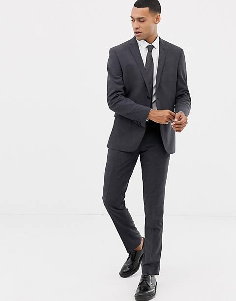 Esprit slim fit commuter suit in gray check