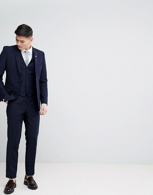 French Connection Navy Birdseye Weave Slim Fit Suit