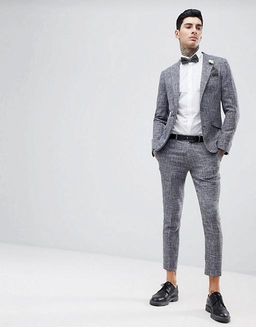 Gianni Feraud - Gespikkeld cropped skinny-fit kostuum