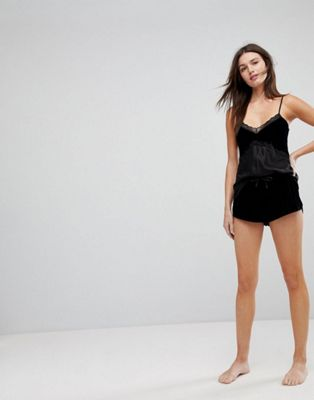 Hunkemoller Velvet Lace Cami Top & Short Pajama Set