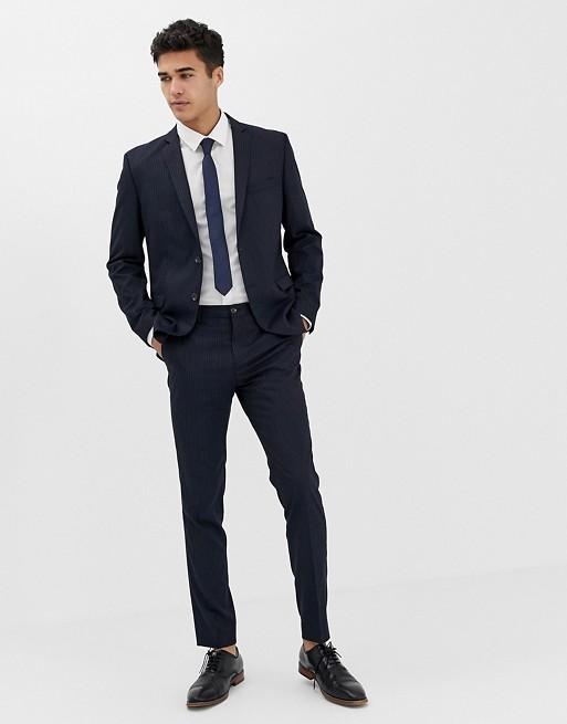 jack jones premium schmaler anzug in marineblau mit. Black Bedroom Furniture Sets. Home Design Ideas