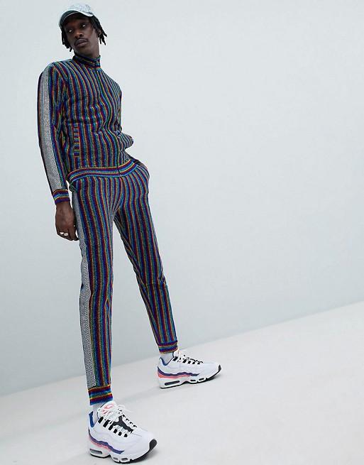 Jaded London Stripe Tracksuit With Metallic Side Stripe