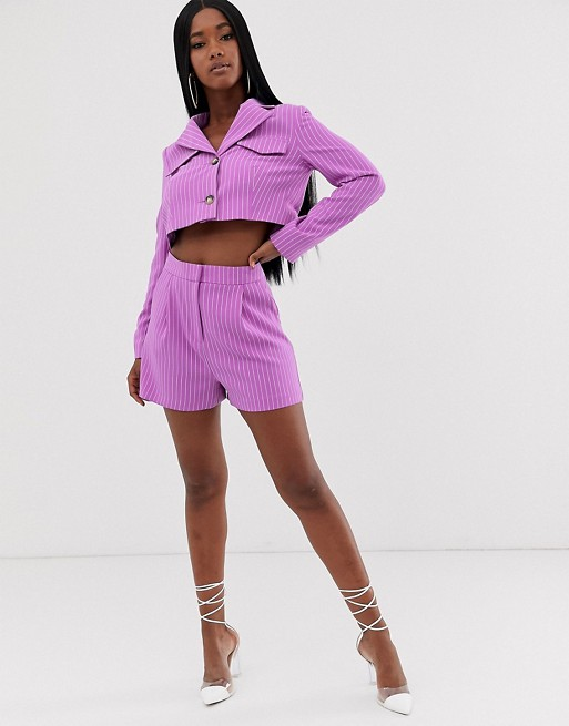 Костюм фиолетового цвета с укороченным блейзером и шортами в тонкую полоску ASOS DESIGN