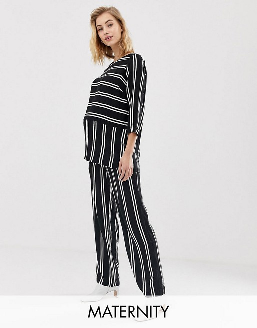 Mamalicious maternity stripe wide leg co-ord