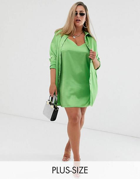Missguided Plus satin shirt & cami dress two-piece in lime