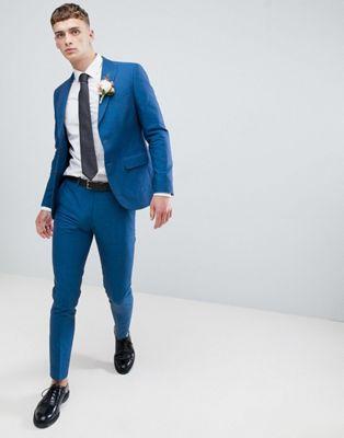 Moss London – Blå bröllopskostym med smal passform