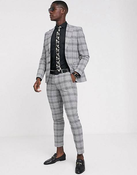 Moss London suit in black and white check