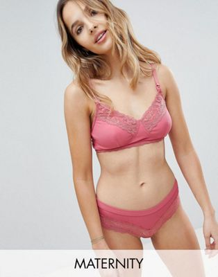 New Look Maternity Fine Rib & Lace Bra & Brief