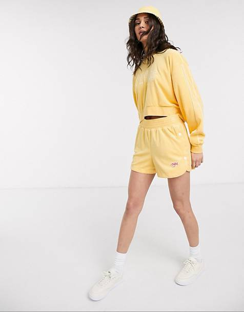 Nike crop retro terry towelling coord in yellow