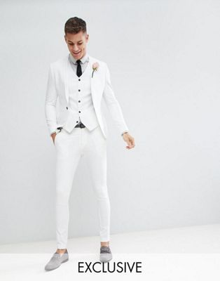 Noak Skinny Fit Wedding Suit In Cream