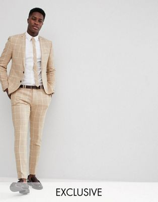 Noak Skinny Suit In Grid Check
