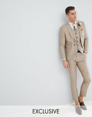 Noak – Stenfärgad bröllopskostym i linne med smal passform