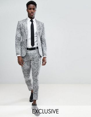 Noak Super Skinny Suit In Grey Jersey