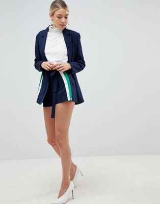 Parallel Lines oversized blazer & shorts with side stripe co-ord