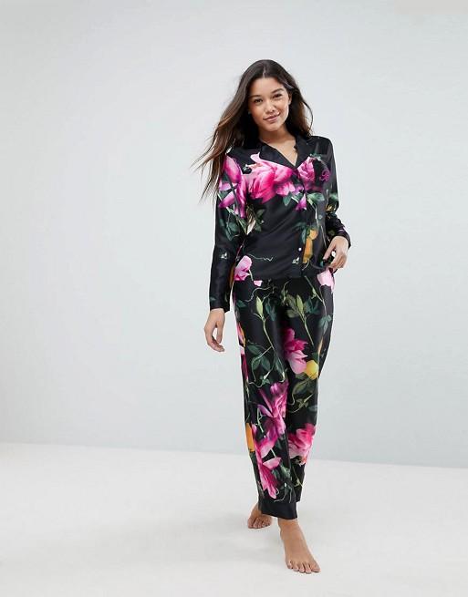 Pijama con pantalones y top con estampado Citrus Bloom de B By Ted Baker