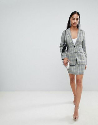 PrettyLittleThing Check Blazer & Skirt Co-Ord