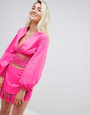 PrettyLittleThing Tassel trim Beach Top & Skirt Co-Ord