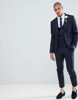 River Island Wedding – Blau karierter, enger Anzug