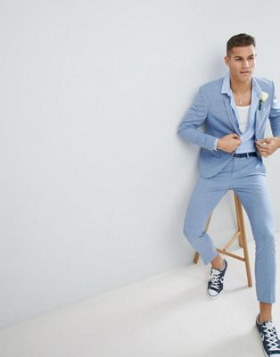 River Island Wedding Linen Suit In Light Blue
