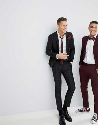 River Island Wedding Skinny Fit Suit In Black Check