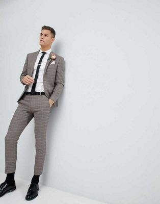 River Island Wedding Skinny Fit Suit In Brown And Pink Check