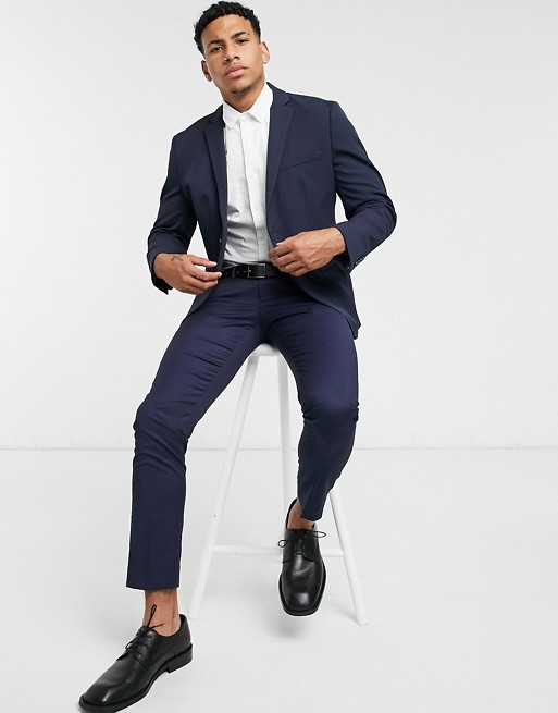 Selected Homme - Costume ajusté en jersey - Bleu marine