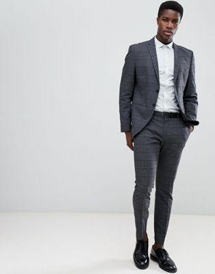 Selected Homme – Grau karierter Anzug mit engem Schnitt
