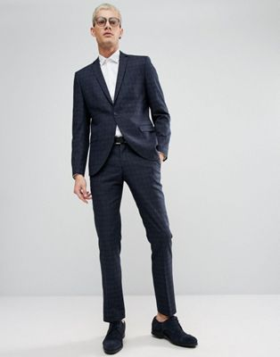 Selected Homme Skinny Wedding Suit In Navy Check