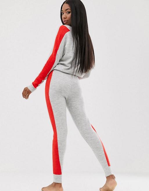 Sæt af strikket trøje & joggingbukser med kontrastkanter fra ASOS DESIGN