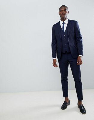 Темно-синий облегающий костюм с укороченными брюками Moss London