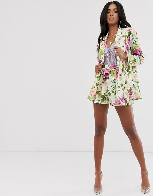 Traje de punto con lazada en la cintura y estampado floral de ASOS DESIGN