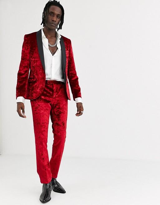 Traje muy ajustado de terciopelo rojo de Twisted Tailor