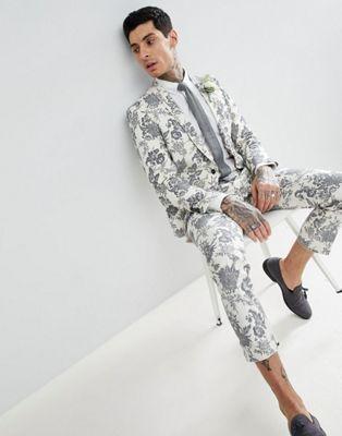 Traje superajustado de lino en relieve en color en crema de Twisted Tailor Wedding