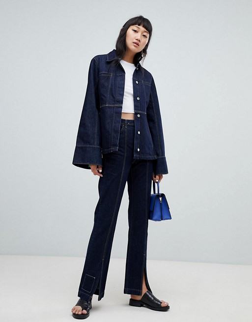 Weekday Limited Collection Seamed Denim Coach Jacket & Mom Jeans Two-Piece