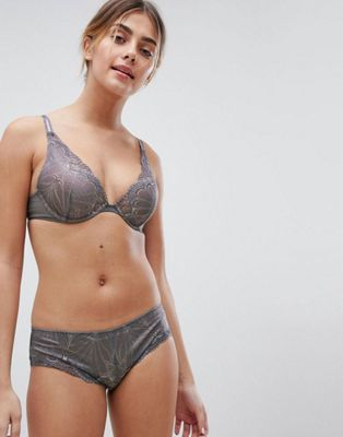 Wonderbra Refined Glamour Triangle Padded Bra & Shorty Lingerie Set