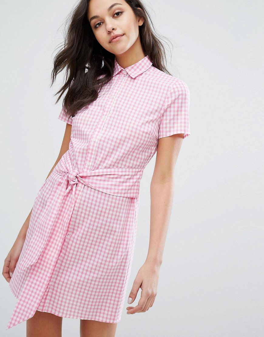 Miss Selfridge Gingham Tie Front Shirt Dress