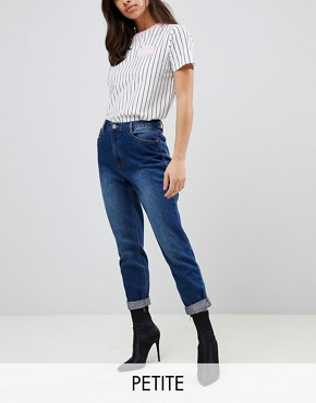 Missguided Petite Riot High Rise Mom Jeans - Blue