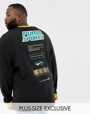 Puma PLUS organic cotton long sleeve top in black Exclusive at ASOS - Black