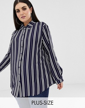 PrettyLittleThing Plus oversized button through shirt in navy stripe